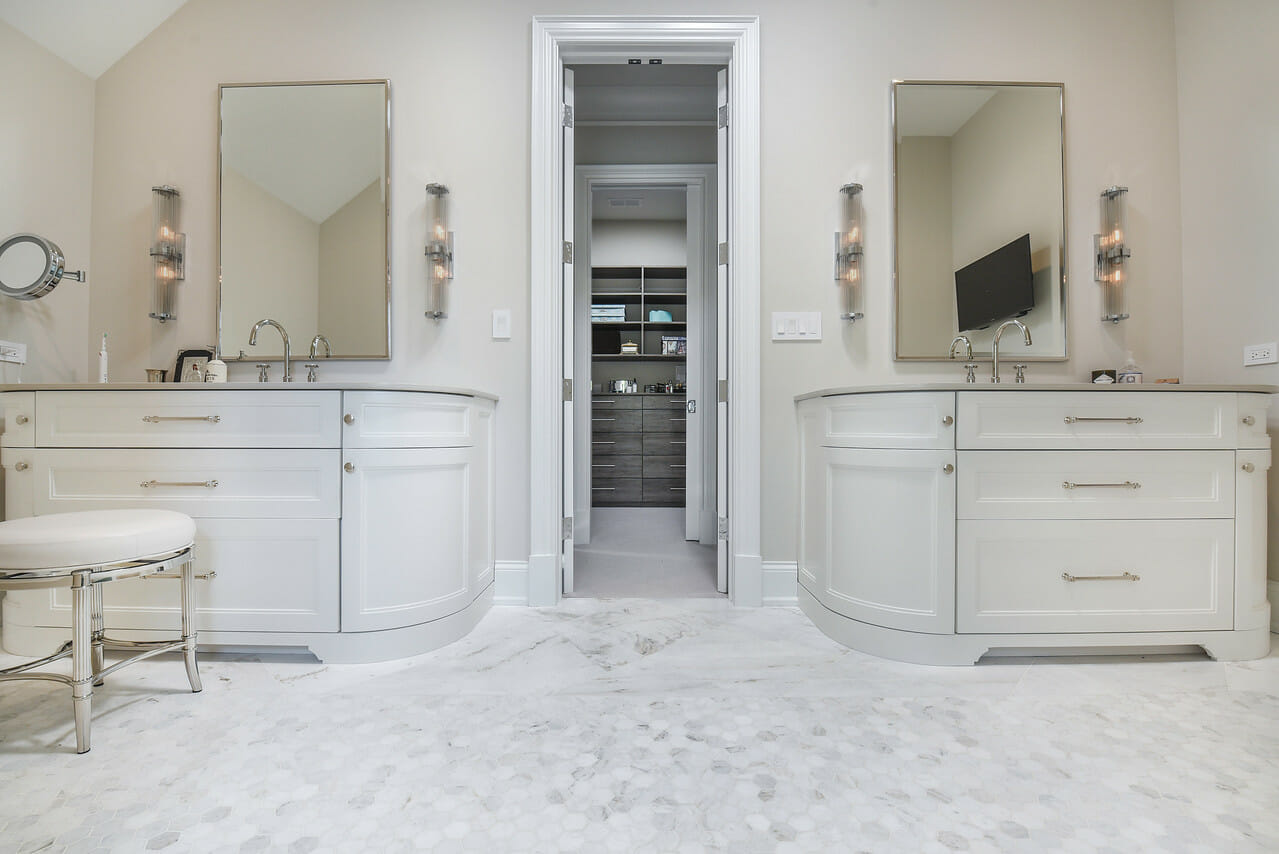 The remodeled luxurious and elegant bathroom